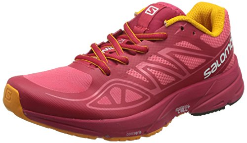 Salomon Women's Sonic Aero W Running Shoe, Madder Pink/Lotus Pink/Yellow Gold, 9 B US by Salomon
