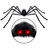 Halloween Giant Spider with LED Scary Red Eyes & Spooky Sound, Touch Controlled Shake & Squeak Fake Large Spider for Halloween Decorations, 50 inch