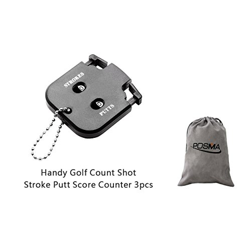 Golf Counter Stroke (POSMA SC010 3pcs Handy Golf Count Shot Stroke Putt Score Counter Two Digits Scoring Keeper Mini Come with Flannel storage bag)