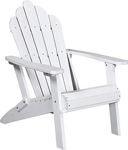 (PolyTEAK Seashell Folding Adirondack Chair, Powder White - Looks Like Wood - All Weather Waterproof Material - Poly Resin Adirondack - Foldable Chair - Feels Like Teak)