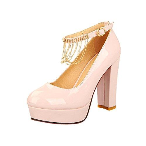 Latasa Womens Fashion Ankle-strap Platform Block High Heel Dress Pumps Shoes Pink