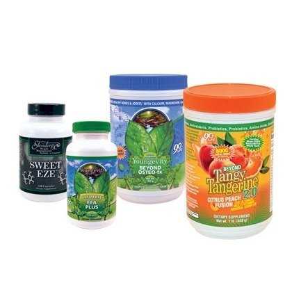 - Youngevity Healthy Body Blood Sugar Pack 2.0 (Beyond Tangy Tangerine 2.0, Osteo FX Powder, Ultimate EFA Plus, Slender FX Sweet Eze) (Ships Worldwide)