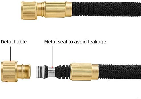 Expandable Garden Hose With Double Core Latex, Solid Brass Fittings, Non-Kink Extra Strength Fabric, Water Hose with Shut Off Valve, 8 Pattern Functions Spray Nozzle