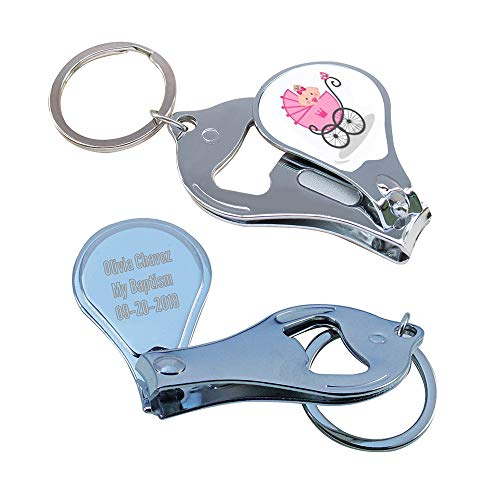 Personalized Baby Shower (12 PCS) Pink Girl Keychain Favors/Nail Clipper and Bottle Opener/Custom Laser Engraving Gift -