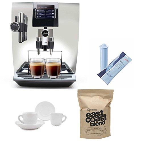 Capresso Super Automatic Coffee Maker - Jura 15142 Impressa J90 Super Fully Automatic Espresso Machine (Chrome) Includes 2 Ceramic Tiara Espresso Cups and Saucers, Capresso East Coast Blend Whole Bean Coffee and Care Cartridge