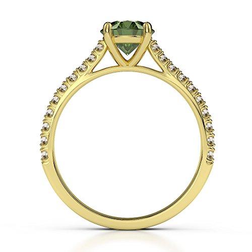 Or jaune 18carats 1CT G-H/VS sertie de diamants ronds Cut Tourmaline verte et bague de fiançailles Agdr-1213