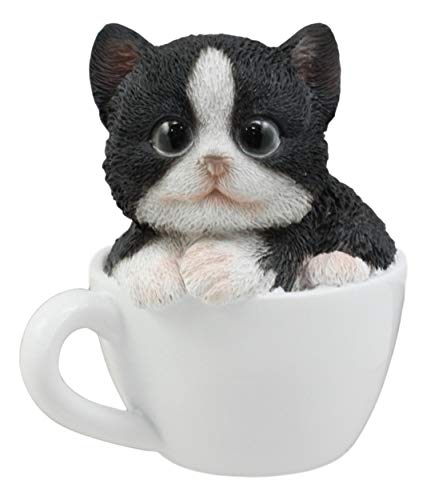Ebros Lifelike Tuxedo Black and White Cat Teacup Pet Pal Statue 3