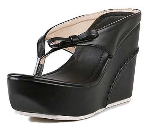Aisun Women's Comfy Thick Sole Beach Split Toe Platform Flip Flops High Heel Wedge Slide Sandals Thong Shoes with Bows (Black, 7 B(M) US) ()