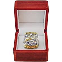 DENVER BRONCOS (Peyton Manning) 2015 SUPER BOWL 50 WORLD CHAMPIONS (This Ones for Pat) Rare Collectible High-Quality Replica NFL Football Silver Championship Ring with Cherrywood Display Box