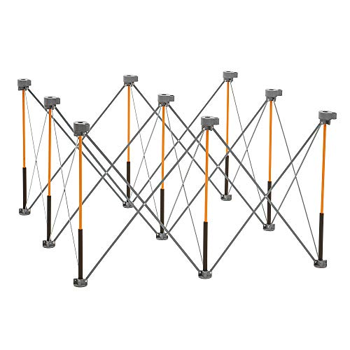 Bora Centipede 4ft x 4ft 9-Strut Work Table, Includes 4 X-Cups, 4 Quick Clamps, Carry Bag, Portable Work Support Sawhorse, CK9S,Black/Orange