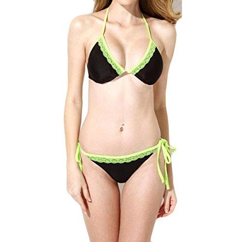 La Sra GAOLIXIA Negro De Encaje De Alta Elasticidad Verde Copas Triangulares Bikini Ocio Ropa De Playa A