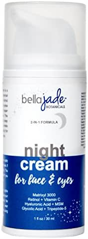 Anti Aging Night Cream Moisturizer for Face & Eyes with Retinol, Hyaluronic & Glycolic Acid. Intense Hydration for Repairing Skin & Preventing Wrinkles - Fragrance Free & Non Greasy