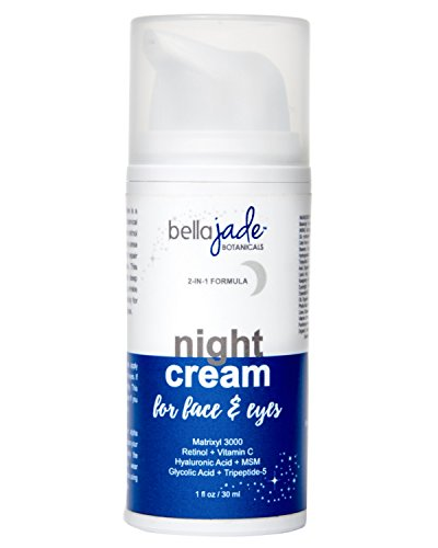 Bella Jade Anti Aging Night Cream Moisturizer for Face & Eyes with Retinol, Hyaluronic & Glycolic Acid. Intense Hydration for Repairing Skin & Preventing Wrinkles - Fragrance Free & Non Greasy