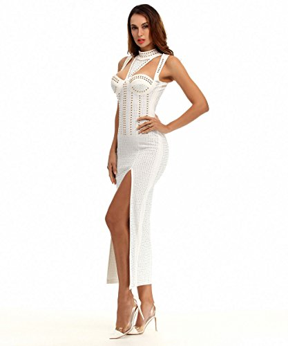 Sexy Masquerade Dress (Maketina Women's Sexy Sleeveless Cutout Side Slit Beaded Evening Maxi Dress White M)