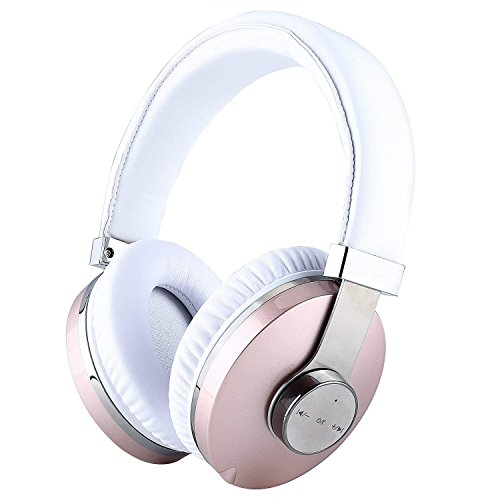 Active Noise Cancelling Headphones,Meesport Deep Bass Wireless Bluetooth Headphones Over Ear,30 Hrs Playtime Headset with Comfortable Earpads,w/Build-in Mic Wired Mode for Travel TV PC Cellphone -Pink