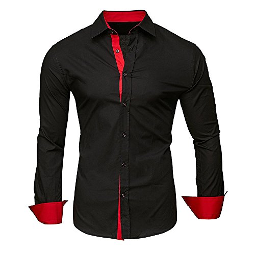 (Baiggooswt Men Shirts Men's Autumn Casual Formal Solid Slim Fit Long Sleeve Dress Top Blouse )