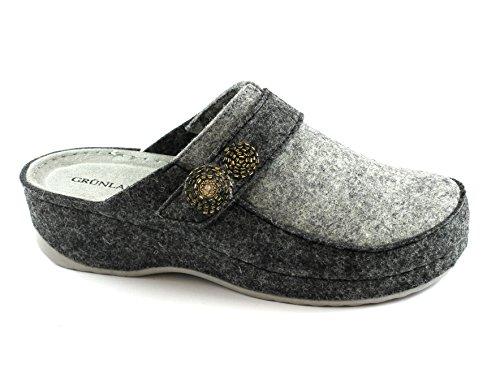 Grunland Print CI2194 Anthracite Gray Slippers Woman Memory Cloth Grigio