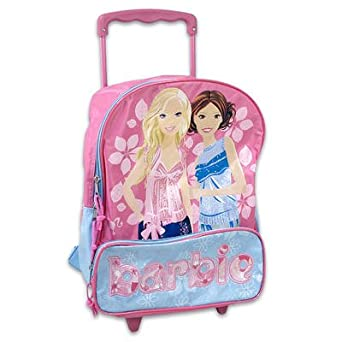 Amazon.com | Barbie Girls Pink Rolling Backpack School Bag Travel ...