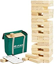 OLSA Giant Tumble Tower, 60 PCS Wooden Block Stacking Yard Game with Carrying Bag, Classic Outdoor Games for K