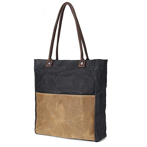 rétro bandoulière huile tissu à provisions toile tissu DIUDIU sac sac hit Direction loisirs black cire main à à sac portable couleur étanche 4Pqxaw