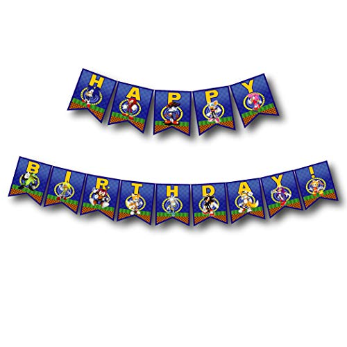 A2ZPlusmore Sonic The Hedgehog Birthday Party Bunting Banner, Garland, Flag Pennants -