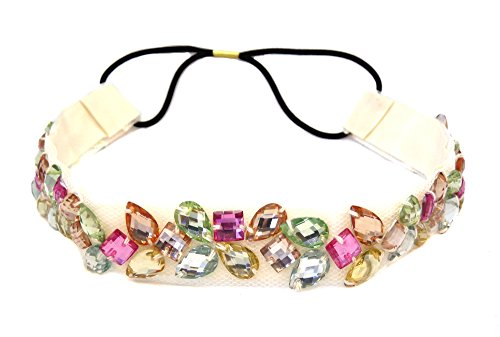Multi Color Rhinestone Beaded Elastic Fashion Headband Hair Accessory, Cream
