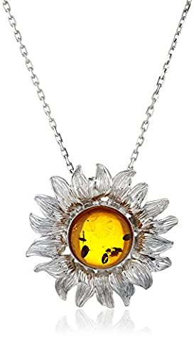 Rhodium Plated Sterling Silver Honey Amber Sunflower Pendant Necklace (Unique Amber Pendant For Women)