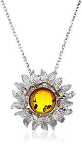 Rhodium Plated Sterling Silver Honey Amber Sunflower Pendant Necklace