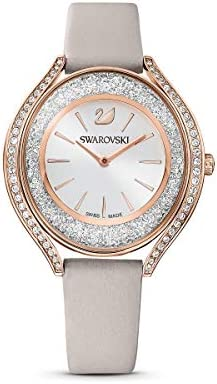 SWAROVSKI Women's Crystalline Aura Rose Gold Quartz Watch with Leather Strap, Gray, 3 (Model: 5519450)