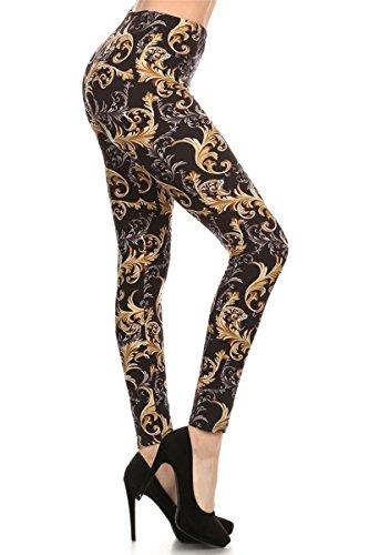 Eel Camel (R518-OS Lush Chinoiserie Print Fashion Leggings)