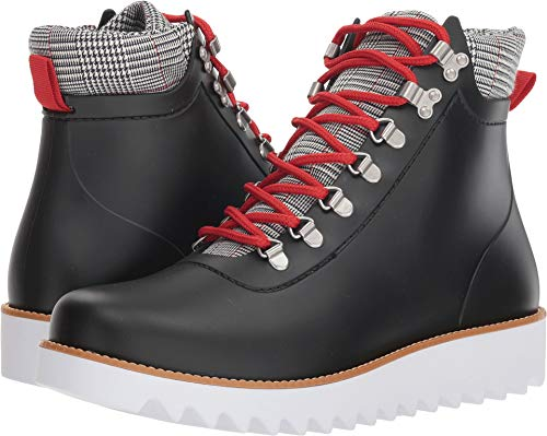 Bernardo Women's Winnie Hiker Rain Boot Black Rubber/Black/White Plaid 8 M US M
