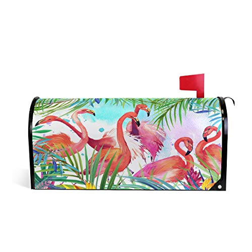 Tropical Pink Flamingo Magnetic Mailbox Cover Standard Size-18