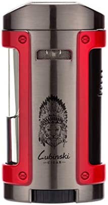 LUBINSKI Cigar Lighter with Leather Case, Windproof Butane Q