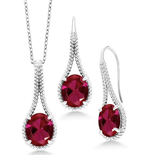 Gem Stone King 15.00 Ct Oval Red Created Ruby 925 Silver Pendant Earrings Set With Chain