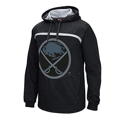 adidas Buffalo Sabres Reebok Cross Check Primary Logo Black Pullover Hoodie Men's ()