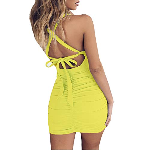 UPSTONE Women's Sexy Jumpsuit Hollow Out Spaghetti Backless Sleeveless Cutout Club Ruched Bodycon Mini Dress 8121 (Yellow, S) (Backless Skirt)