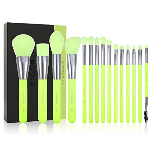 Docolor Makeup Brushes Neon Green 15Pieces Professional Premium Synthetic Makeup Brushes Set Kabuki Foundation Blending Brush Face Powder Blush Concealers Eye Shadows Make Up Brushes Kit with Gift Box (Best Contour Brush 2019)