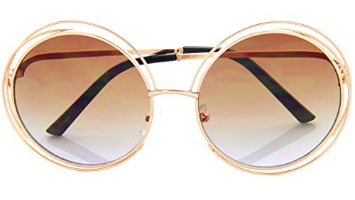 Women Glamour Large Round Sunglasses Multi Metal Wire Frame (Gold/ Brown, 55)