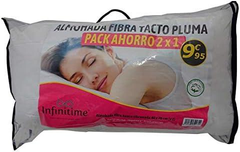 VIP HOGAR Pack 2 Almohadas Fibra Tacto Pluma 40 x 70 cm Tejido 100 ...