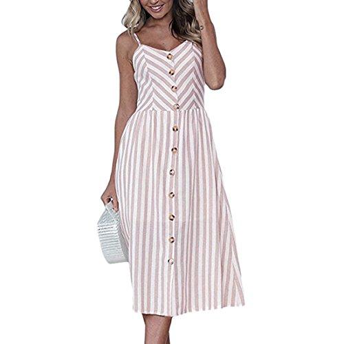 donna tasche floreale Down Abiti da Swing longuette Color Button Pink con Bohemian Light Abito Spaghetti Estate Strap Stripe 27 qOAOtwp5Rx