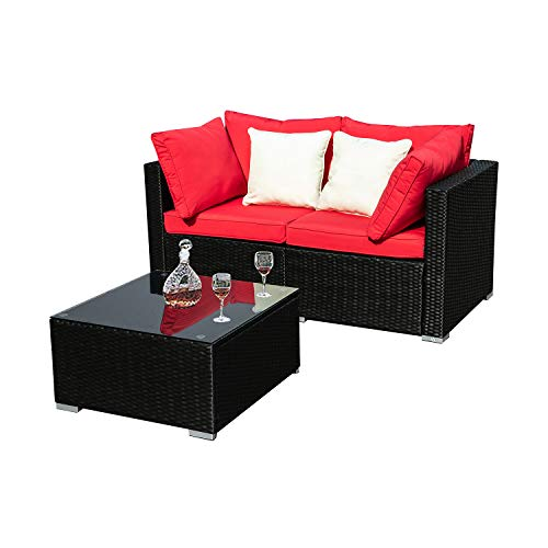 KOOLWOOM Outdoor Patio Sectional Wicker Sofa Furniture Set,Washable Waterproof PE Cushions,Backyard,Pool (3, Red)