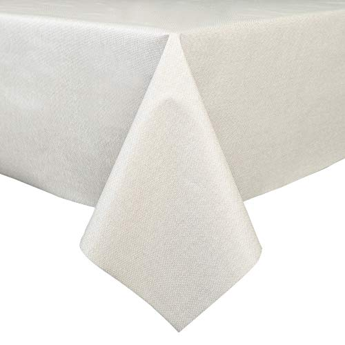 LEEVAN Heavy Weight Vinyl Rectangle Table Cover Wipe Clean PVC Tablecloth Oil-Proof/Waterproof Stain-Resistant-54 x 72 Inch (Natural Color) ()