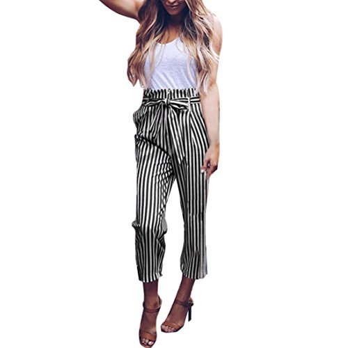 2019 Women's Pants,Striped Slim Straight Leg Casual Button Trousers with Pockets by-NEWONESUN