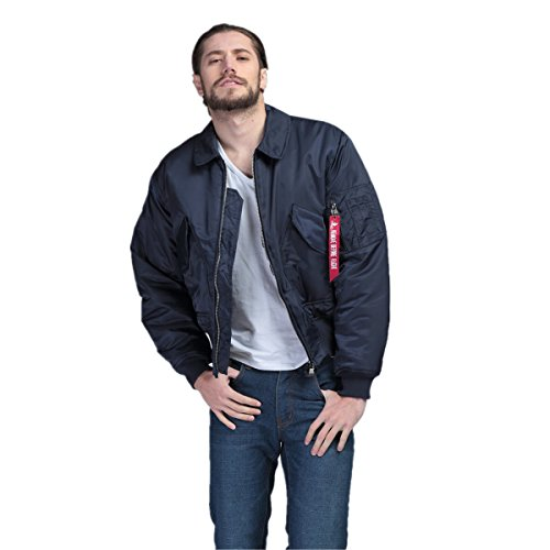 Fanala Men Winter Military Air Force Bomber Blue Jacket Coat-S