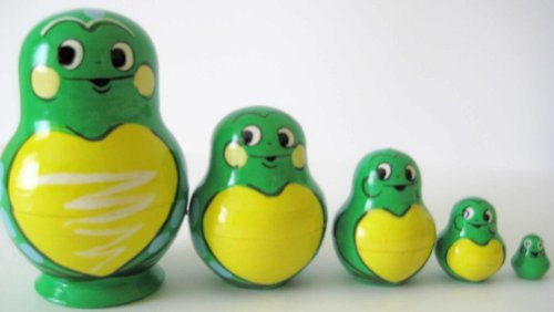 Russian Nesting doll Frog 5 pcs / 3 in