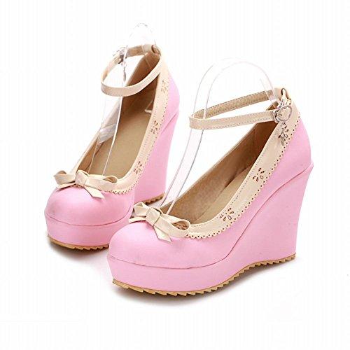 Latasa Donna Lolita Carino Fiocco Cinturino Alla Caviglia Scarpe Col Tacco Alto Scarpe Rosa