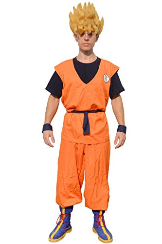 Miccostumes Men's Dragon Ball Goku Cosplay Costume with Kame Letter (X-large, Orange and Dark Blue) (Goku Costume Adult)