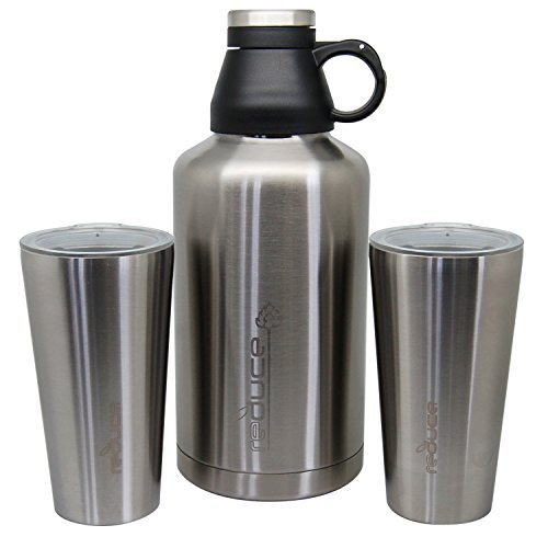 Reduce COLD-1 Stainless Steel Vacuum Insulated 64 Ounce Growler Gear with 2 Pints - Keeps Beer and Beverages Cold 48 Hours, Hot for 12 Bring Hiking, Camping, Parties, Tailgating, To BBQs and More
