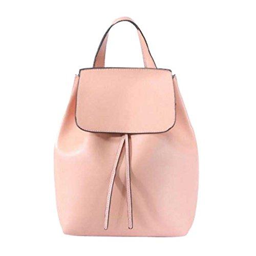 Le Donne La Moda Borsa A Tracolla Moda Di Grande Capacità Cuoio Zaino,Pink-OneSize
