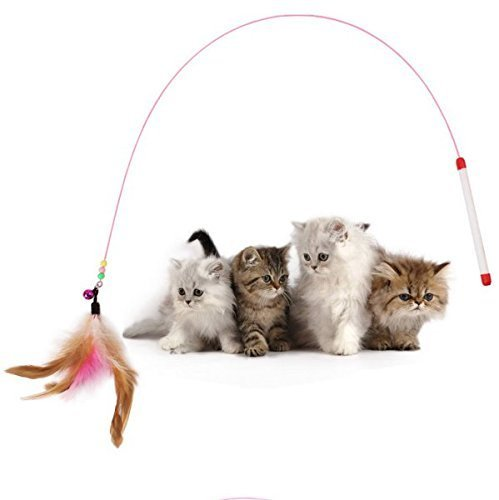 Wand Teaser Cat (Tinksky Kitten Cat Pet Toy Wire Chaser Wand Teaser Feather With Bell Beads Play Fun Gifts (Random colour))